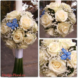 Lumanare de botez glob din trandafiri albi