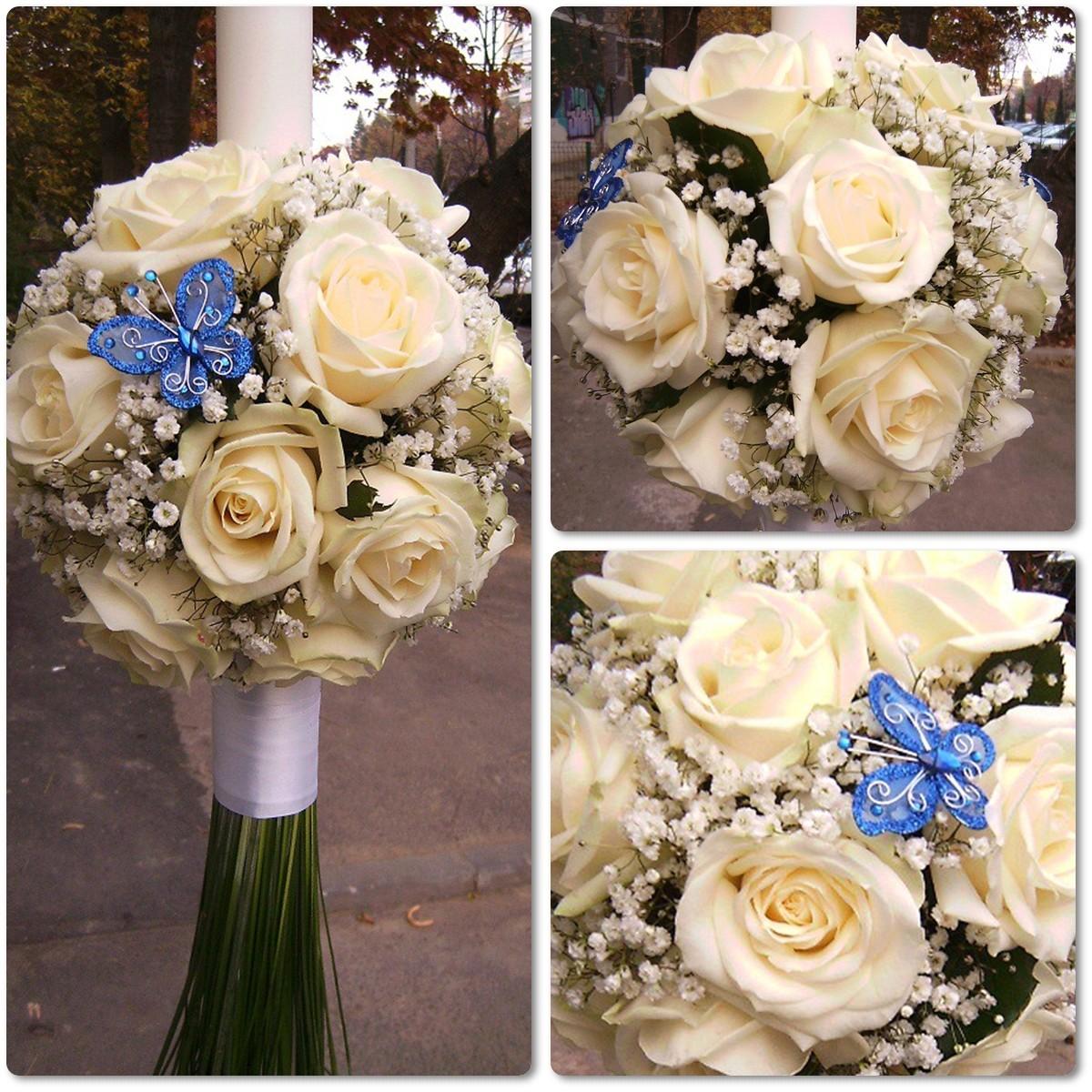 Lumanare De Botez Glob Din Trandafiri Albi Floraria Design Floral