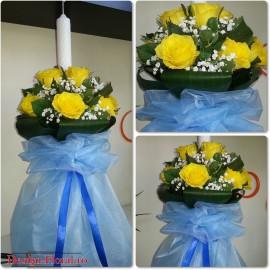 Lumanare botez baiat cu flori si tull
