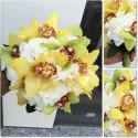 Buchet mireasa orhidee Cymbidium si Hortensie