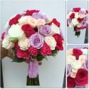 Buchet mireasa mix de trandafiri