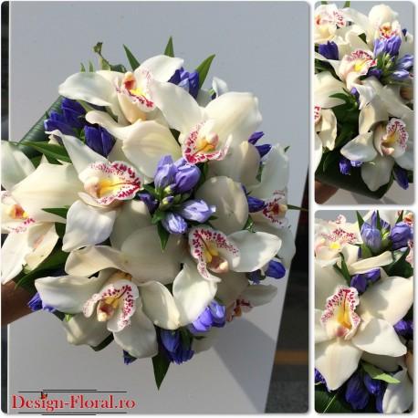 Buchet mireasa Gentiana si orhidee
