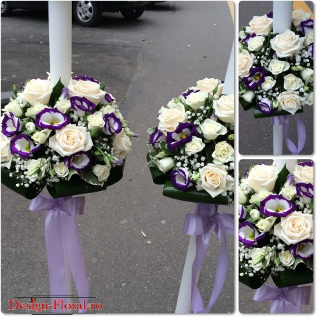 Lumanari nunta Lisianthus si trandafiri