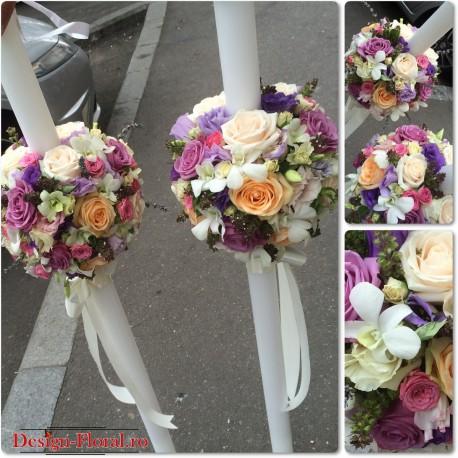 Lumanari de nunta mix flori