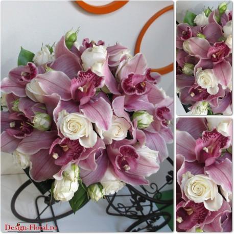 Buchet mireasa orhidee si minirose
