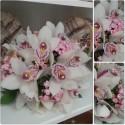Buchet mireasa orhidee si Bouvardia