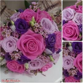 Buchet mireasa Lisianthus si trandafiri