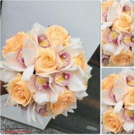 Buchet mireasa frezii, trandafiri si orhidee