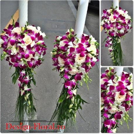 Lumanari de cununie orhidee si frezii