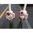 Lumanari nunta glob trandafiri si minirose