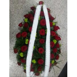 Coroana funerara trandafiri si Santini