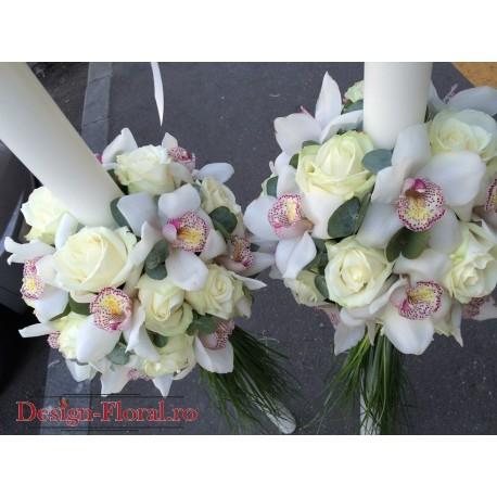 Lumanari nunta glob din trandafiri si orhidee Cymbidium
