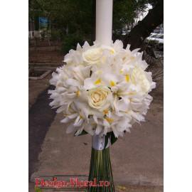 Lumanare glob din iris alb si trandafiri