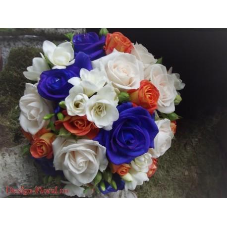 Buchet mireasa trandafiri albastrii