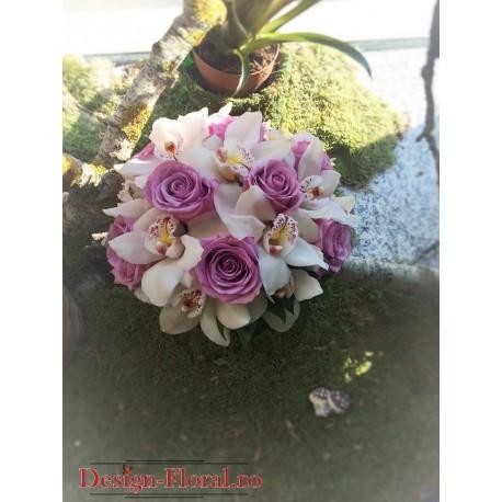 Buchet mireasa trandafiri si Cymbidium