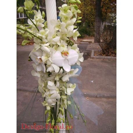 Lumanare de botez din orhidee