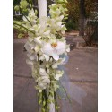 Lumanare de botez cu orhidee Phalaenopsis