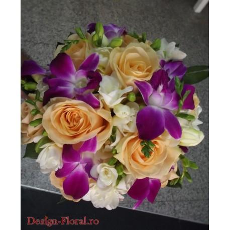 Buchet nunta trandafiri si orhidee
