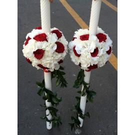 Lumanari nunta glob din trandafiri si margarete