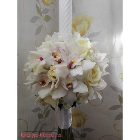 Lumanare botez orhidee imperiala