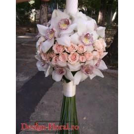 Lumanare botez fetite din orhidee alba