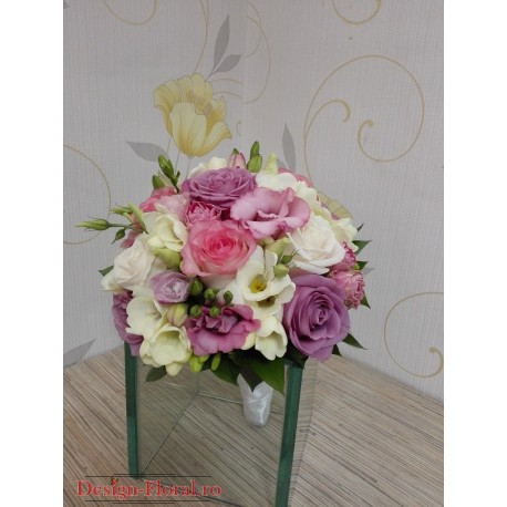 Buchet mireasa trandafiri pastel