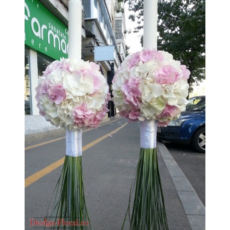 Lumanari nunta Hortensie roz