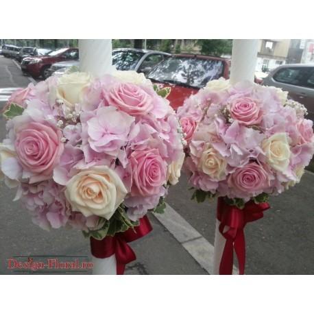 Lumanari nunta Hortensie si trandafiri
