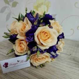Buchet mireasa trandafiri si Lisianthus