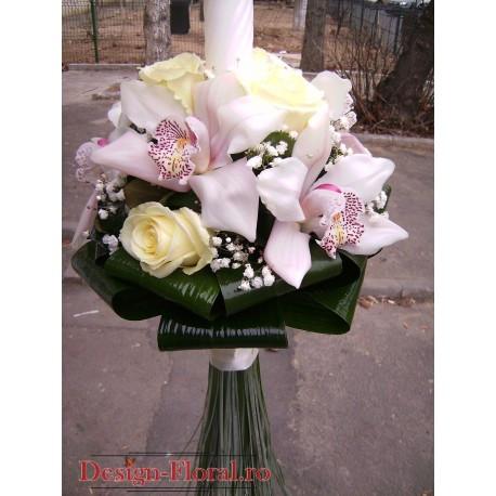 Lumanare botez sferica din trandafiri si orhidee