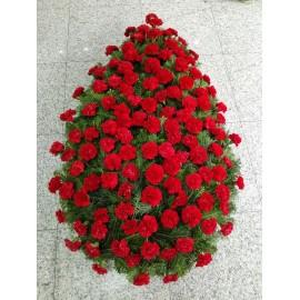 Coroana funerara 120 garoafe rosii