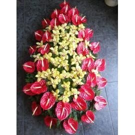 Coroana funerara Anthurium si orhidee