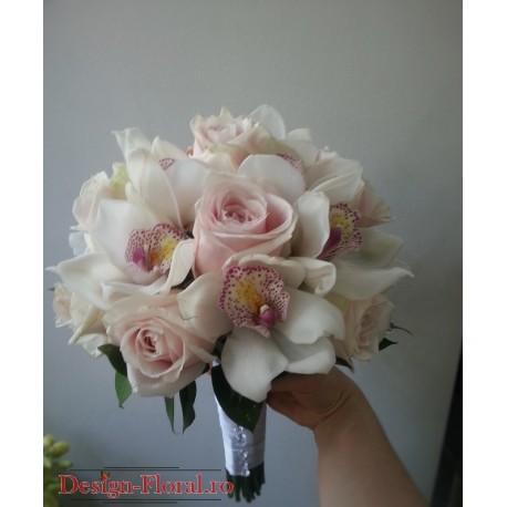 Buchet mireasa trandafiri si orhidee imperiala
