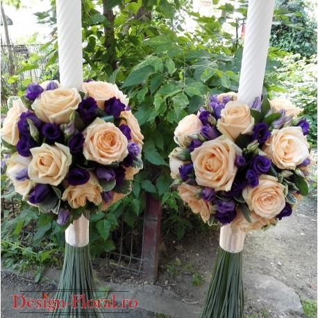 Lumanari de nunta trandafiri si Lisianthus