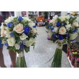 Lumanari nunta minirose albastre