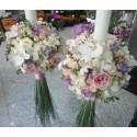 Lumanari cununie frezii lila si orhidee Phalaenopsis