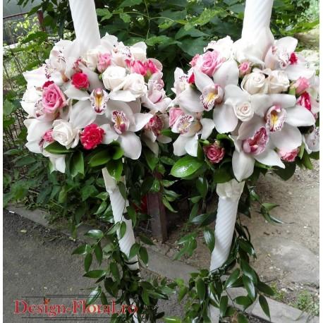 Lumanari nunta orhidee si minirose colorate
