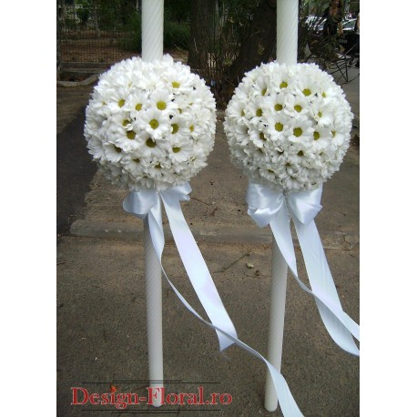 Lumanari de nunta glob din crizanteme si accesorii