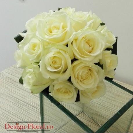 Buchet nunta trandafiri albi