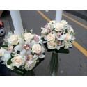 Lumanari nunta trandafiri crem si orhidee