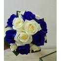 Buchet mireasa trandafiri albastrii si albi