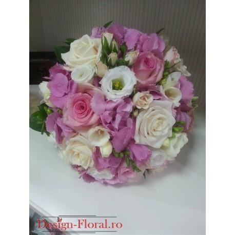 Buchet mireasa Hortensie roz si trandafiri