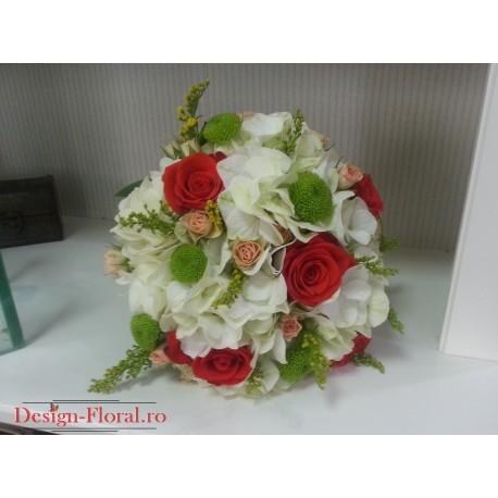 Buchet mireasa Hortensie alba si trandafiri