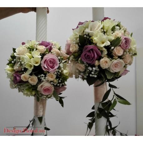 Lumanari nunta trandafiri pastelati