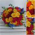 Buchet mireasa minirose colorate