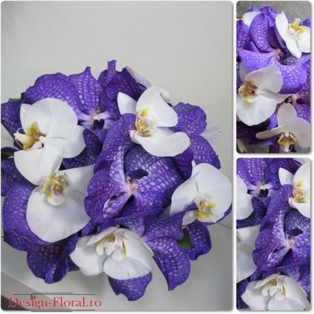 Buchet de mireasa orhidee Vanda si orhidee Phalaenopsis