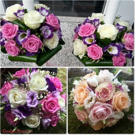 Pachet nunta Lisianthus si trandafiri