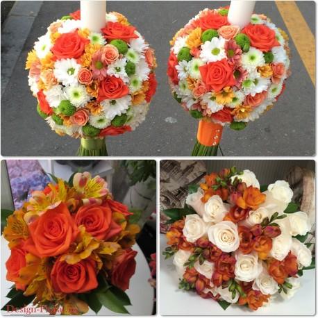 Pachet nunta trandafiri si margarete