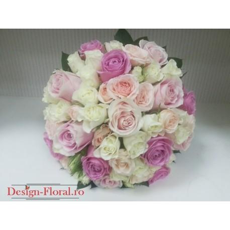 Buchet de mireasa trandafiri pastel