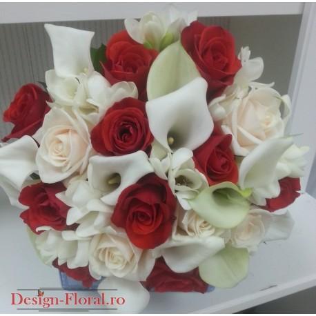 Buchet mireasa cale albe si trandafiri